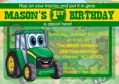Johnny Tractor Dinner Plates | Easton\'s 1st Bday | Pinterest