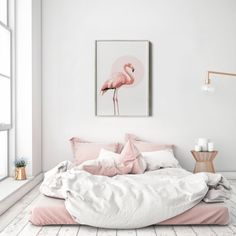 Pink Flamingo Flamingo Print Pink Print Wall Art by PosteraDesign