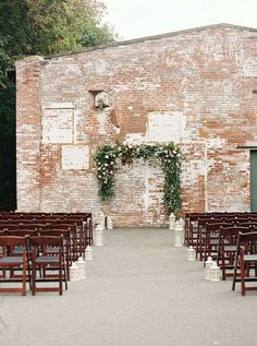 Industrial wedding ceremony decor idea - exposed brick backdrop with greenery ar. Industrial wedding ceremony decor idea - exposed brick backdrop with greenery arch {Whimsy Weddings - Planning, Florals,. Industrial Wedding Venues, Luxury Wedding Venues, Wedding Ceremony Decorations, Wedding Ideas, Wedding Blog, Wedding Ceremonies, Wedding Centerpieces, Wedding Stuff, Wedding Planning