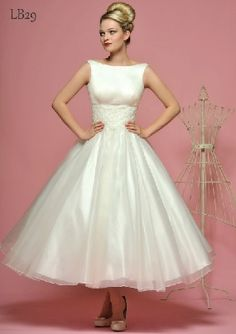 *Lace on top, purple band in middle* Lou Lou Wedding dresses -Tea length