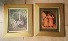 Pair of 2 Glass Vintage Wood Picture Frames Gold Gilt, French Garden County   #FrenchCountryProvincial #Unknown