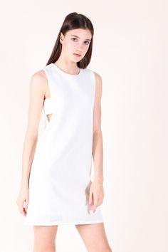 Cut-out Waist Shift Dress (White)  $40