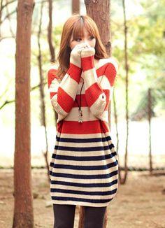 Durable Orange Knit Stripe Sweaters Hot Sale  Item Code:#YC1025968+Orange  Price: US$33.00  Shipping Weight: 0.68KG