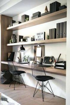 Breathtaking small bedroom home office design ideas Home Office Space, Home Office Design, Home Office Decor, Home Decor Bedroom, Office Desk, Industrial Bedroom Decor, Office Setup, Office Shelving, Industrial Desk