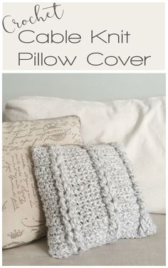 Crochet Cable 'Knit' pillow cover - free crochet pattern