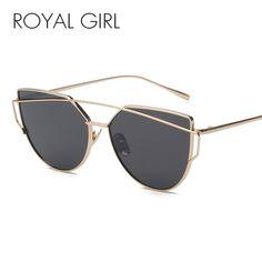 ce790b339eb ROYAL GIRL NEW Brand Designer Women Sunglasses Metal Frame Flat Sun glasses  Vintage Mirror Shades ss395