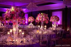 LOVE this glitzy and elegant wedding. Full of over the top details..  Deep purple plum, aubergine, magenta and raspberry color combination rocked in the Four Seasons Westlake ballroom.  Joseph Matthew did a superb job photographing our decor.