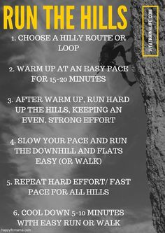 6 Hill Workouts for Runners -Happy Fit Mama Running Injuries, Running Workouts, Running Humor, Running Quotes, Cardio Workouts, Outdoor Workouts, How To Start Running, How To Run Faster, Running Hills