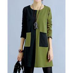 Casual Scoop Neck Long Sleeve Color Block Slimming Women's Dress