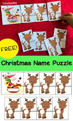 Christmas Name Puzzle FREE Christmas name recognition puzzle featuring Santa and his reindeer. Great activity for toddlers and preschoolers to learn their name. Preschool Christmas Activities, Preschool Names, Preschool Activities, Alphabet Activities, Preschool Learning Centers, Kindergarten Christmas, Christmas Names, Noel Christmas, Christmas Puzzle