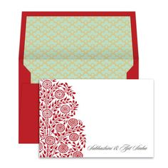 """Marigolds in bloom. Royal red envelope with geometric lining.Use them to send a greeting or just to say thank you. Notecard size - 4.75"""" x 3.25""""; Envelope size"""