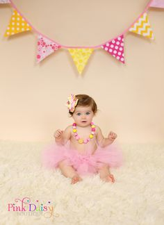 4Piece Cake Smash Set. Pink and Yellow Bow by ThePinkDaisyBoutique, $75.00