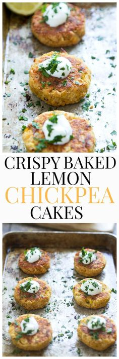 Crispy Baked Lemon Chickpea Cakes - Super crispy even though they are baked because of one SECRET method!