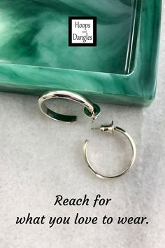 """Handmade round post hoops are for those of you who like post hoops. The earrings in the Beverly Collection are formed from solid sterling wire that has a domed outer surface. The silver is formed with mandrel, hand and/or hammer. It then goes through a polishing process. SIZE: Hoop diameter is 13/16"""""""