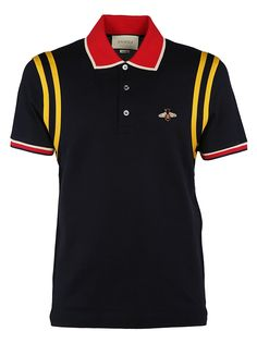 Bee Logo Polo Shirt from Gucci: Black/Multicolor Bee Logo Polo Shirt with classic collar, front button placket, bee logo on chest, striped trim short sleeves and straight hem. Swag Outfits, Casual Outfits, Men Casual, Clothing Logo, Mens Clothing Styles, Motif Polo, Polo Design, Hipster Man, Athletic Men