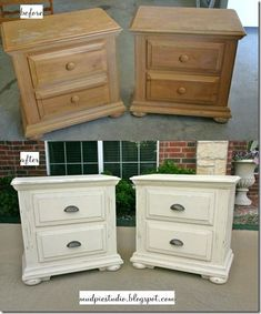 I'm leaning toward white furniture with dark handles... Leaving dark stained/painted top... Need mismatched night stands. Maybe paint bookcase dark