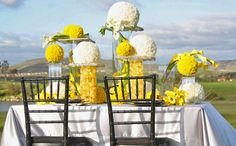 A Sophisticated and Bright Wedding Color Palette Wedding Centerpieces, Wedding Table, Wedding Decorations, Yellow Wedding Colors, Yellow Weddings, Tropical Weddings, Damask Wedding, Gold Wedding, Arte Floral