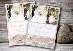 Dankeskarte Hochzeit 60 Stück von Kartenliebe Hamburg auf DaWanda.com