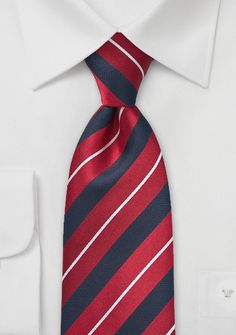 Midnight Blue and Red Striped Tie - Time to get dignified this season with classically cool and chic patterned ties. Cavallieri designed this asymmetrical striped tie in traditional hues of navy and r Suit With Red Tie, Black Tie Attire, Der Gentleman, Tie Shop, Silver Tie, Black Leather Dresses, Blue Ties, Red And Grey, Navy Blue