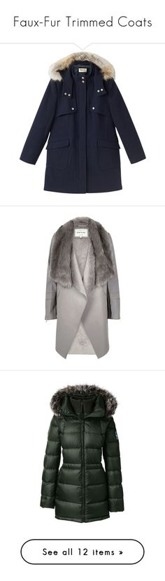 """""""Faux-Fur Trimmed Coats"""" by polyvore-editorial ❤ liked on Polyvore featuring fauxfur, outerwear, coats, jackets, petite, navy coat, precis petite, dkny hooded faux-fur-trim parka coat, navy duffle coat and long sleeve coat"""