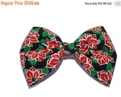 ON SALE Red Poinsettia fabric bow. Red flower Christmas bow fabric bow barrette.  Christmas bow for all ages, women, teens, toddlers, and ba - pinned by pin4etsy.com