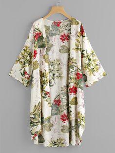 Shop Tropical Print Dip Hem Kimono at ROMWE, discover more fashion styles online. Kimono Outfit, Kimono Cardigan, Kimono Fashion, Kimono Top, Fashion Outfits, Hijab Fashion, Fashion Fashion, Fashion Ideas, Vintage Fashion
