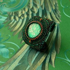 Bead Bracelets – Magic Emerald - Embroidered bracelet – a unique product by Tamarchi on DaWanda