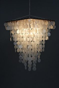 MODERN capiz & wood square tapered with round shells pendant design chandelier. $189.99, via Etsy. Shell chandelier for living room to go with sea glass theme.