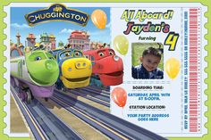 This Train birthday invite is a perfect for your Chuggington train theme birthday party! Invite features a picture of your child, and custom text.