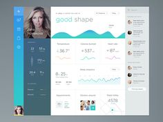 I was working on health app, and this is a main dashboard page of it. Behance Twitter