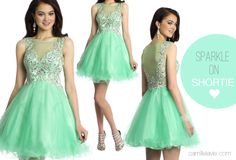 Camille La Vie Short Party Prom Dress with Illusion in green