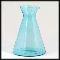Turquoise Blue Art Glass Pitcher Mid Century Modern Vintage Carafe  found on Ruby Lane