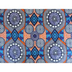 African fabric, Ankara wax print for sale by the yard, orange blue and... (10 CAD) ❤ liked on Polyvore featuring home, home improvement and fabric