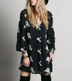 3379-New-128-Free-People-Austin-Flowy-Embroidered-Swing-Black-Tunic-Dress-S-6