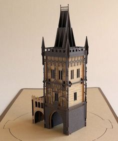 Pop up card 3d card Prague Gunpowder Tower por ColibriGift en Etsy