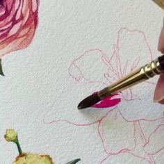 Watercolor Paintings For Beginners, Simple Acrylic Paintings, Watercolor Techniques, Watercolor Flowers Tutorial, Floral Watercolor, Watercolour, Flower Art, Art Drawings, Silk Painting