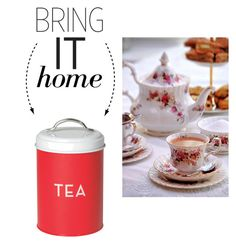 """""""Bring It Home: Vintage Brew Tea Tin"""" by polyvore-editorial ❤ liked on Polyvore featuring interior, interiors, interior design, home, home decor, interior decorating, Dot & Bo, vintage and bringithome"""