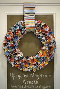 wreath made from magazine pages...brilliant!! blueidone