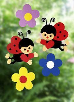 Fensterbild Marienkäfer Mit Blumen