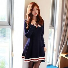 Navy College wind bowknot knit dress