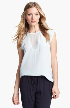 Rebecca Taylor Colorblock Silk Top available at #Nordstrom