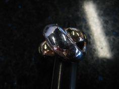 Vintage Woman's Gold & Silvertone CrissCross Bold ring - size 7.5, 12k G.F.