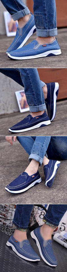 23cb9186e191 Men Denim Breathable Elastic Panels Slip On Flat Casual Shoes