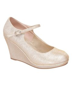 Look what I found on #zulily! Champagne Soap Buckle Wedge Pump #zulilyfinds