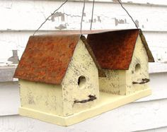 Recycled Industrial Birdhouse Breezeway Yellow Rustic Garden Decor French Country Farmhouse