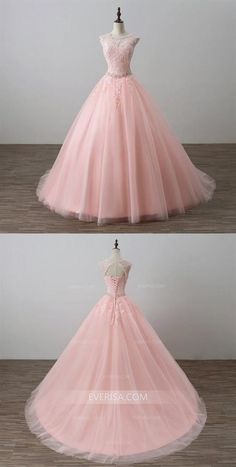 Pink Scoop Neck Sleeveless Prom Dresses,Lace Applique Sweet 16 Dresses #promdress #prom #dress #dresses #promdresses