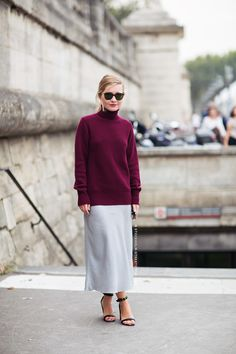 Style Tip: Experiment with textures, and wear a tissue-thin cotton turtleneck with a silky skirt.