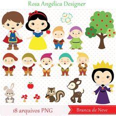 Kit Scrapbook, Scrapbooking, Snow White 7 Dwarfs, Snow White Birthday, Baby Posters, Kawaii Doodles, Cartoon Background, Vector Clipart, Digi Stamps