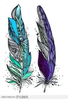 Unique Two Watercolor Feathers Tattoo Design
