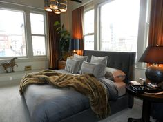 amazing bedroom! Love the gray and copper color scheme. It's especially glam when the curtains are closed.